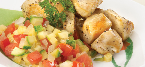 Grilled Chicken Breasts with Calabacita Squash